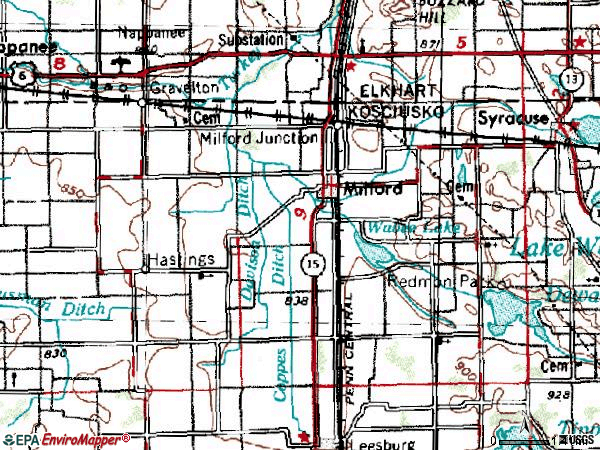 Zip code 46542 topographic map