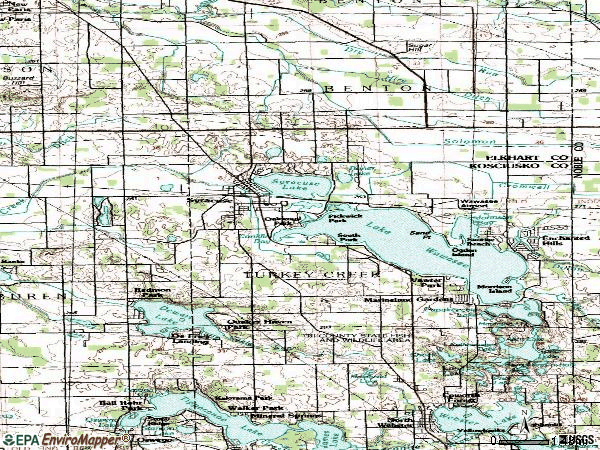 Zip code 46567 topographic map