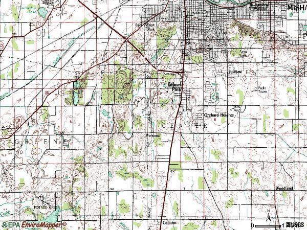 Zip code 46614 topographic map