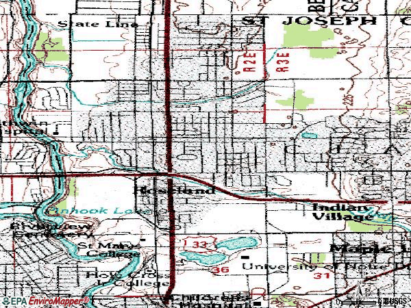 Zip code 46637 topographic map