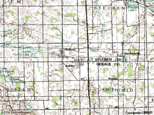 Zip code 46705 topographic map