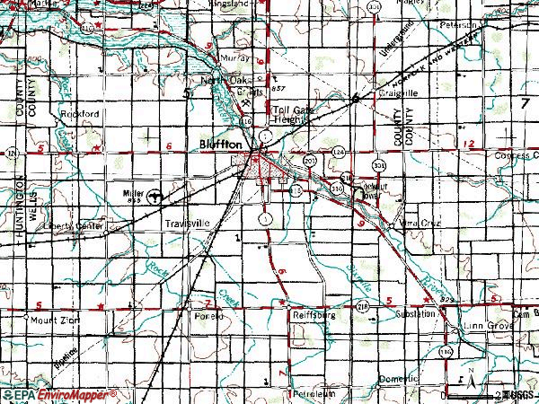 Zip code 46714 topographic map