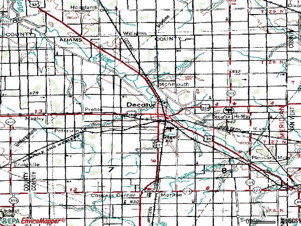 Zip code 46733 topographic map