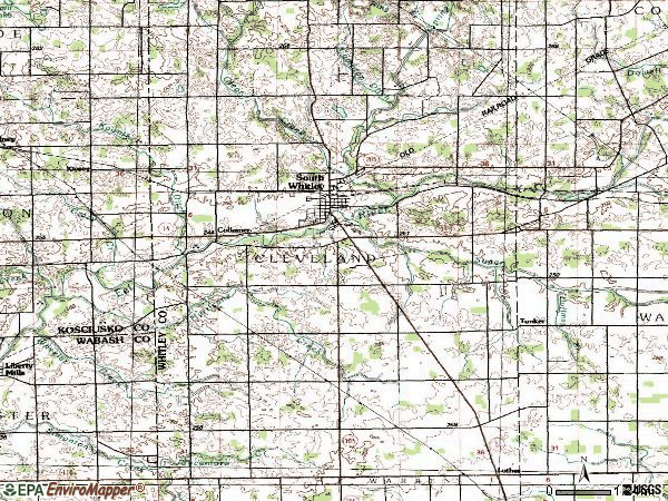 Zip code 46787 topographic map