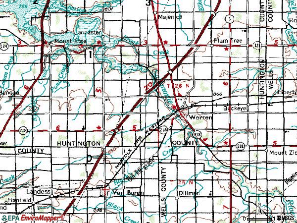 Zip code 46792 topographic map