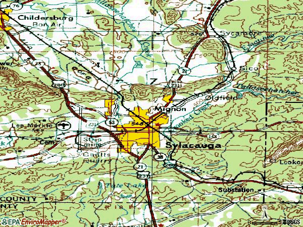 Zip code 35150 topographic map