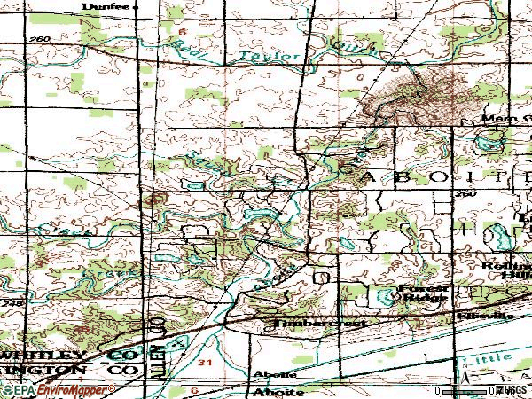 Zip code 46814 topographic map