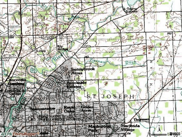 Zip code 46835 topographic map
