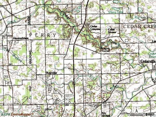 Zip code 46845 topographic map