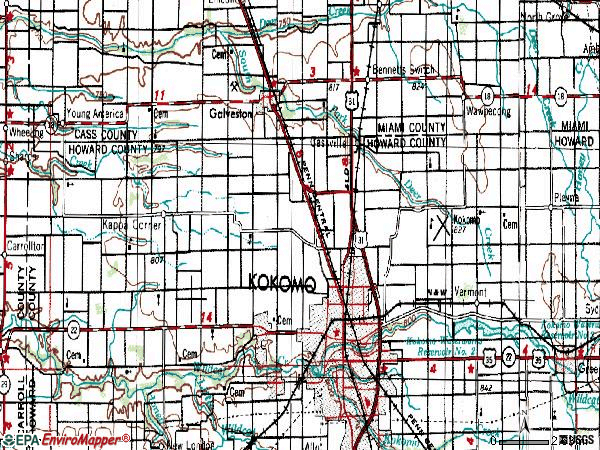 Zip code 46901 topographic map