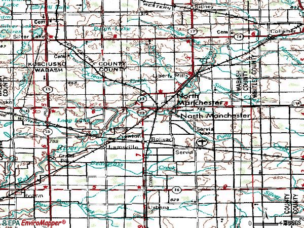 Zip code 46962 topographic map