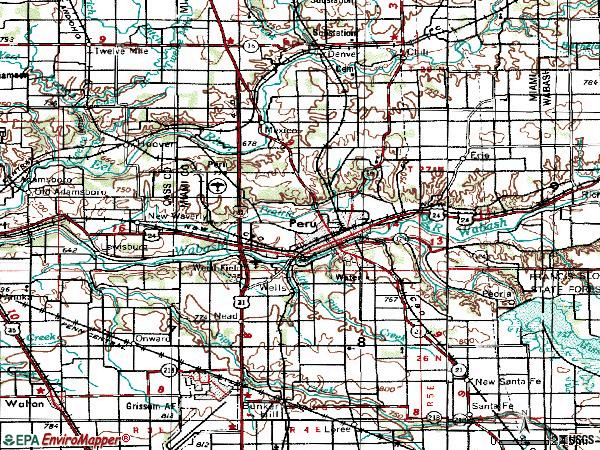 Zip code 46970 topographic map