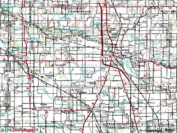 Zip code 46975 topographic map