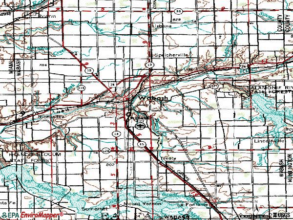 Zip code 46992 topographic map