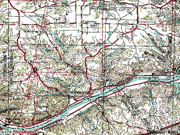 Zip code 47043 topographic map