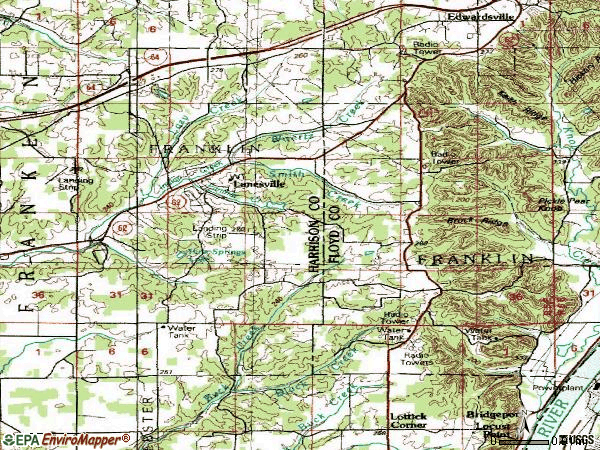 Zip code 47136 topographic map