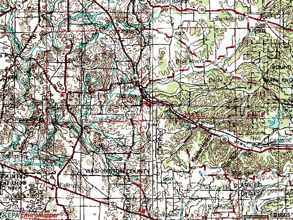 Zip code 47165 topographic map
