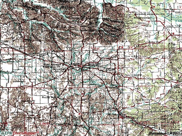 Zip code 47167 topographic map