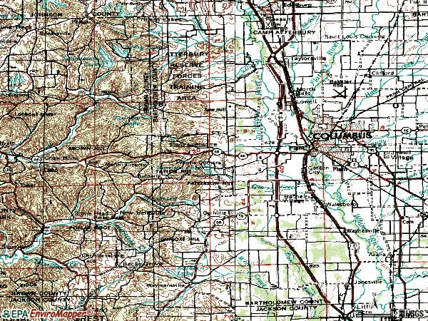 Zip code 47201 topographic map