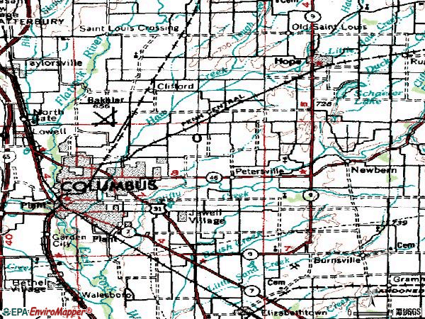 Zip code 47203 topographic map