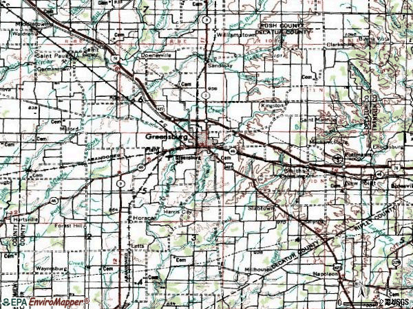 Zip code 47240 topographic map