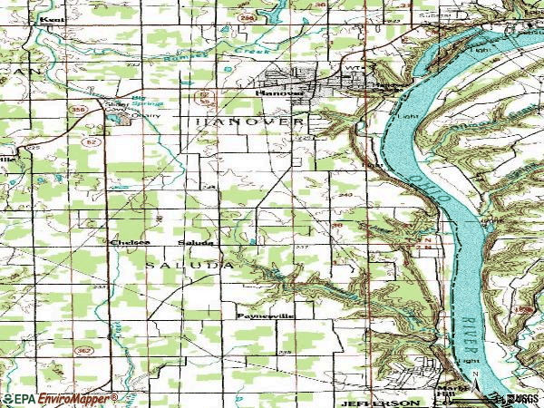 Zip code 47243 topographic map