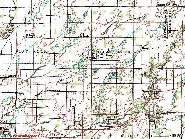 Zip code 47246 topographic map