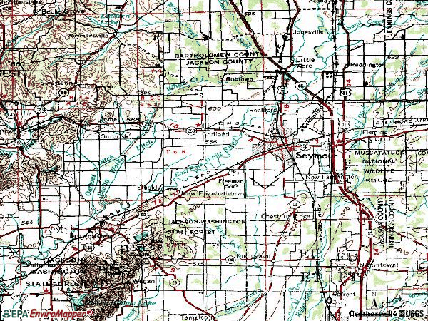 Zip code 47274 topographic map
