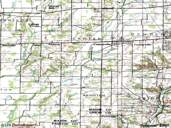 Zip code 47330 topographic map