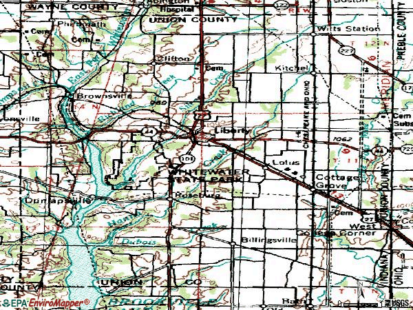 Zip code 47353 topographic map
