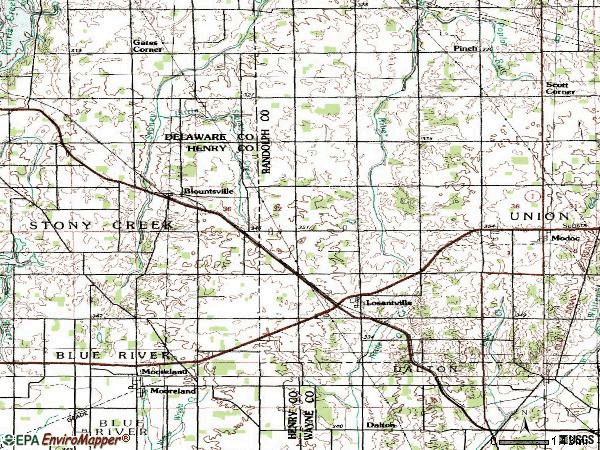 Zip code 47354 topographic map