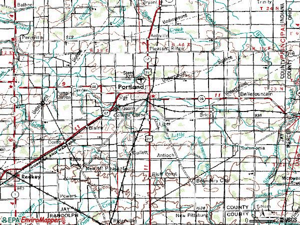 Zip code 47371 topographic map