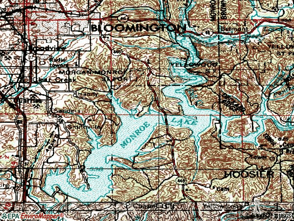 Zip code 47401 topographic map