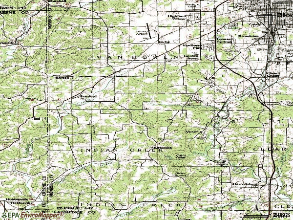 Zip code 47403 topographic map