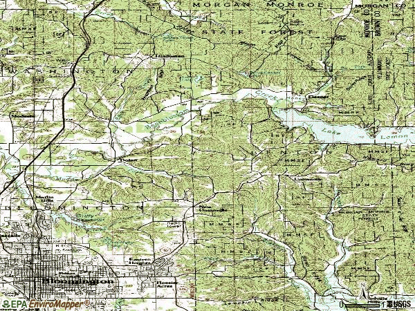 Zip code 47408 topographic map