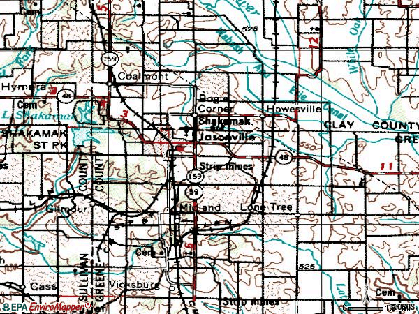 Zip code 47438 topographic map