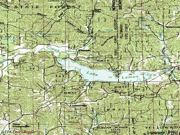 Zip code 47468 topographic map