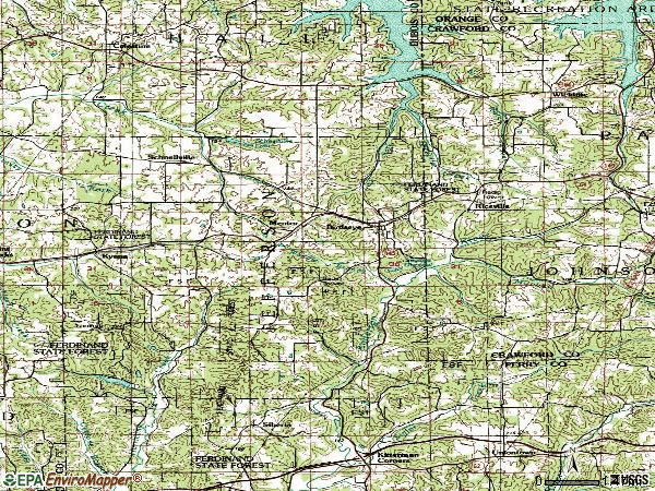 Zip code 47513 topographic map