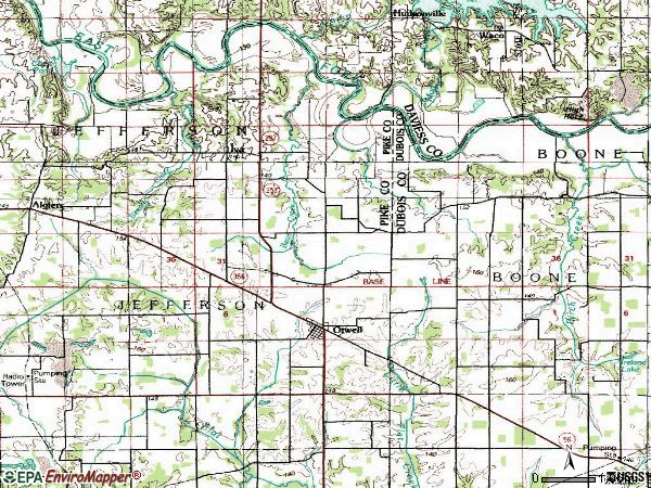 Zip code 47564 topographic map