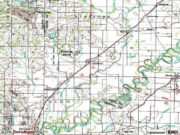 Zip code 47578 topographic map