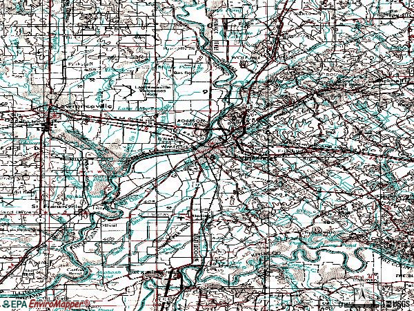 Zip code 47591 topographic map