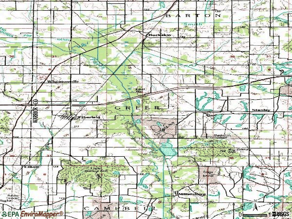 Zip code 47613 topographic map