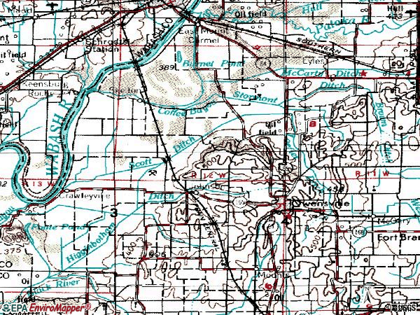 Zip code 47665 topographic map