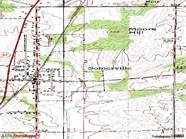 Zip code 47683 topographic map