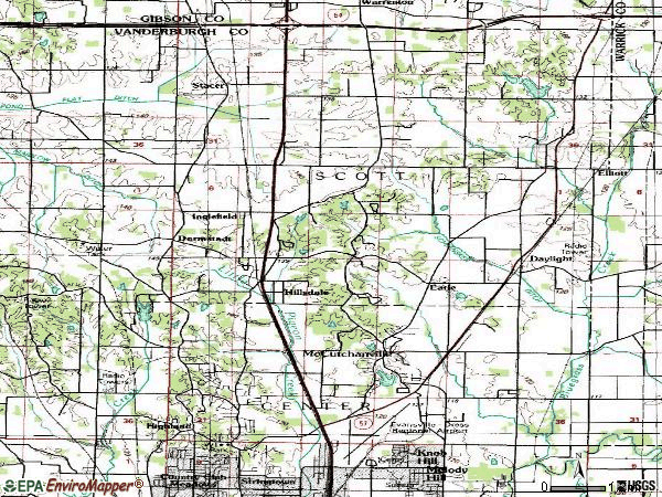 Zip code 47725 topographic map