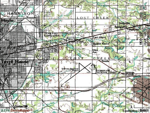 Zip code 47803 topographic map