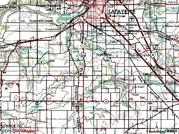 Zip code 47909 topographic map