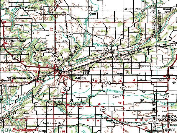 Zip code 47918 topographic map
