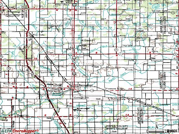 Zip code 47978 topographic map