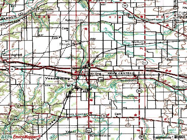 Zip code 47987 topographic map